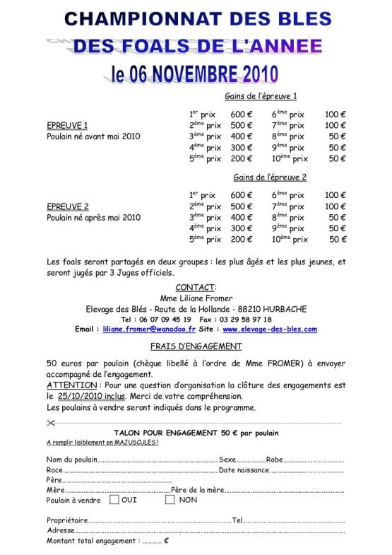 Championnat des Foals de l'année - novembre 2010